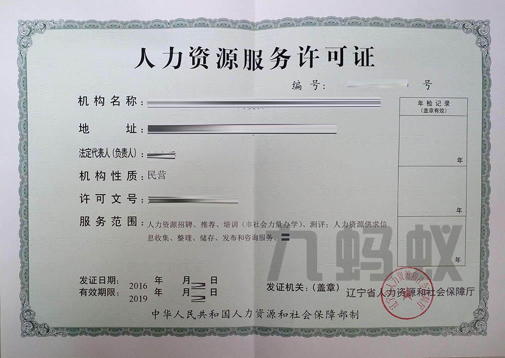 人力資源服務許可證樣本
